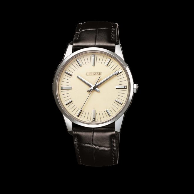 Herrenuhr Citizen Elegant Limited Edition mit beigefarbenem Zifferblatt und Krokodilleder-Armband bei Brogle