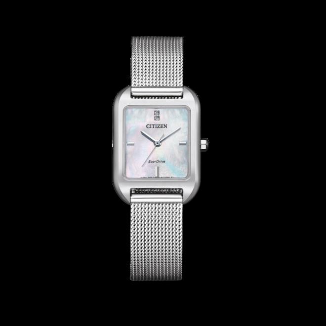 Damenuhr Citizen Elegant Quarz 23,5 x 24 x 7,7mm mit Diamanten, perlmuttfarbenem Zifferblatt und Edelstahlarmband bei Brogle