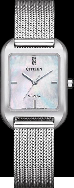 Damenuhr Citizen Elegant Quarz 23,5 x 24 x 7,7mm mit Diamanten, perlmuttfarbenem Zifferblatt und Edelstahlarmband