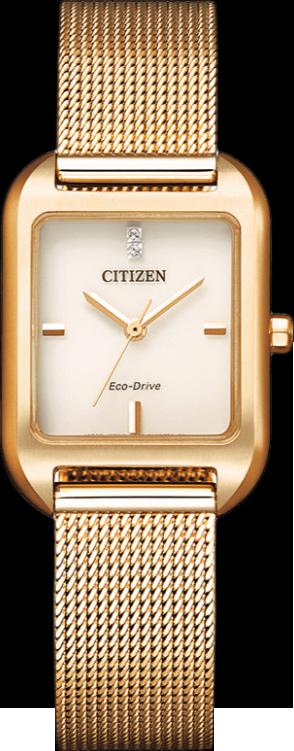Damenuhr Citizen Elegant Quarz 23,5 x 24 x 7,7mm mit Diamanten, roséfarbenem Zifferblatt und Edelstahlarmband