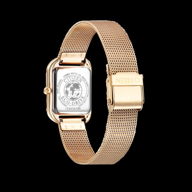 Damenuhr Citizen Elegant Quarz 23,5 x 24 x 7,7mm mit Diamanten, roséfarbenem Zifferblatt und Edelstahlarmband bei Brogle