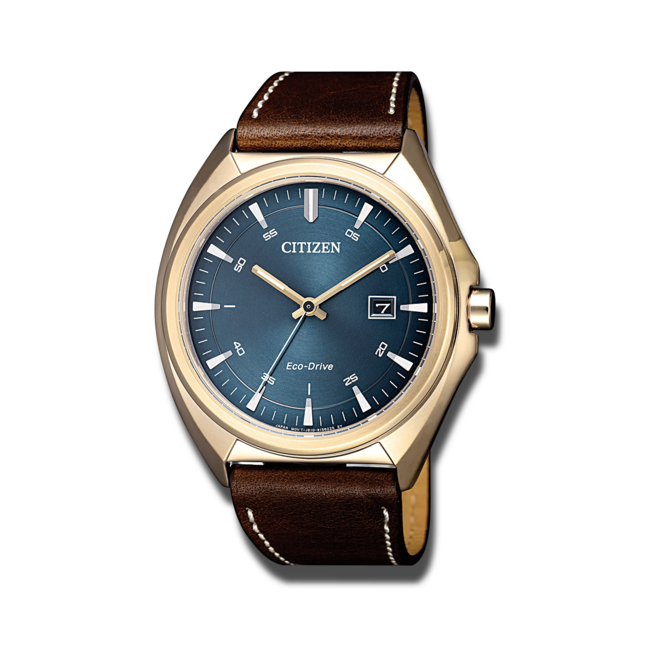 Herrenuhr Citizen Elegant Quarz 43mm mit blauem Zifferblatt und Kalbsleder-Armband bei Brogle
