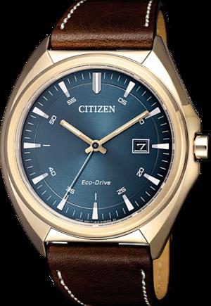 Herrenuhr Citizen Elegant Quarz 43mm mit blauem Zifferblatt und Kalbsleder-Armband