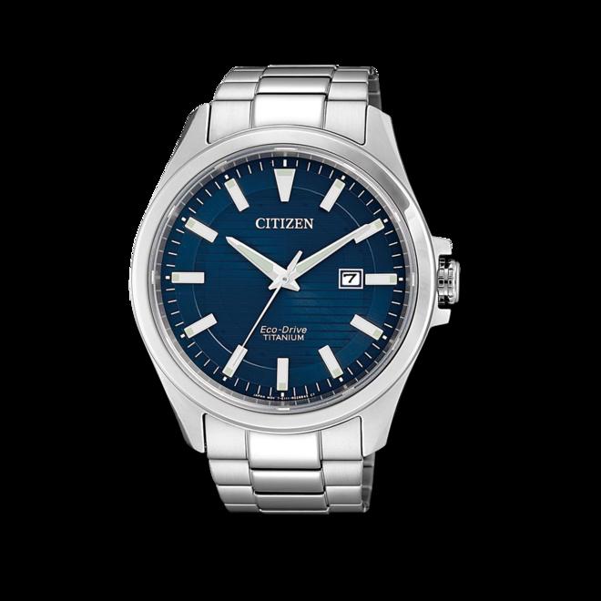 Herrenuhr Citizen Elegant Quarz 43mm mit blauem Zifferblatt und Titaniumarmband bei Brogle