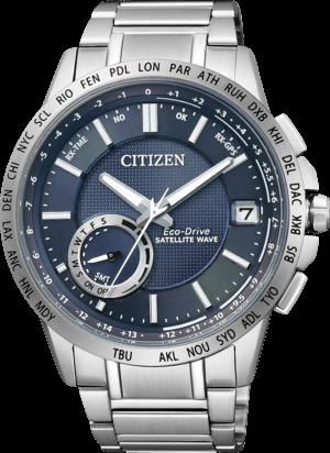 Herrenuhr Citizen Satellite Wave mit blauem Zifferblatt und Edelstahlarmband