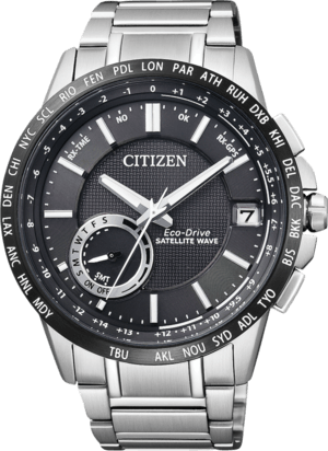 Herrenuhr Citizen Satellite Wave mit schwarzem Zifferblatt und Edelstahlarmband