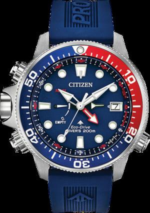 Herrenuhr Citizen Promaster Aqualand mit blauem Zifferblatt und Silikonarmband