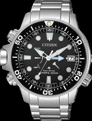 Herrenuhr Citizen Aqualand Eco Drive Divers mit schwarzem Zifferblatt und Edelstahlarmband