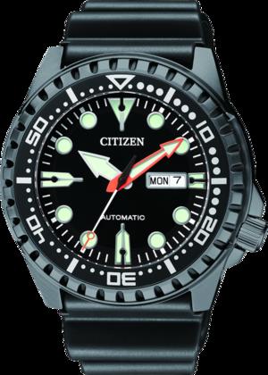 Herrenuhr Citizen Promaster Automatik 46mm mit schwarzem Zifferblatt und Kautschukarmband