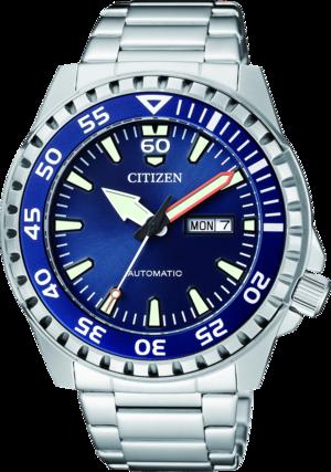 Herrenuhr Citizen Promaster Automatik 46mm mit blauem Zifferblatt und Edelstahlarmband