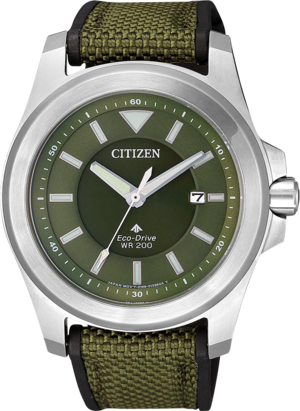 Herrenuhr Citizen Promaster Land Eco-Drive Tough mit grünem Zifferblatt und Nylonarmband