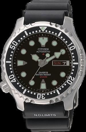 Herrenuhr Citizen Promaster Marine Automatic mit schwarzem Zifferblatt und Urethanarmband