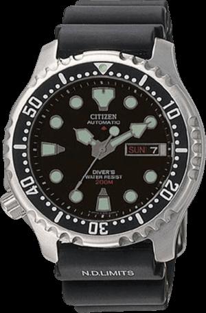 Herrenuhr Citizen Promaster Marine Automatic mit schwarzem Zifferblatt und Kautschukarmband