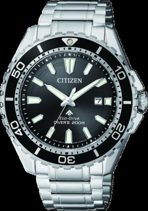 Herrenuhr Citizen Promaster Marine mit schwarzem Zifferblatt und Edelstahlarmband