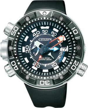 Herrenuhr Citizen Promaster Marine mit schwarzem Zifferblatt und Kautschukarmband