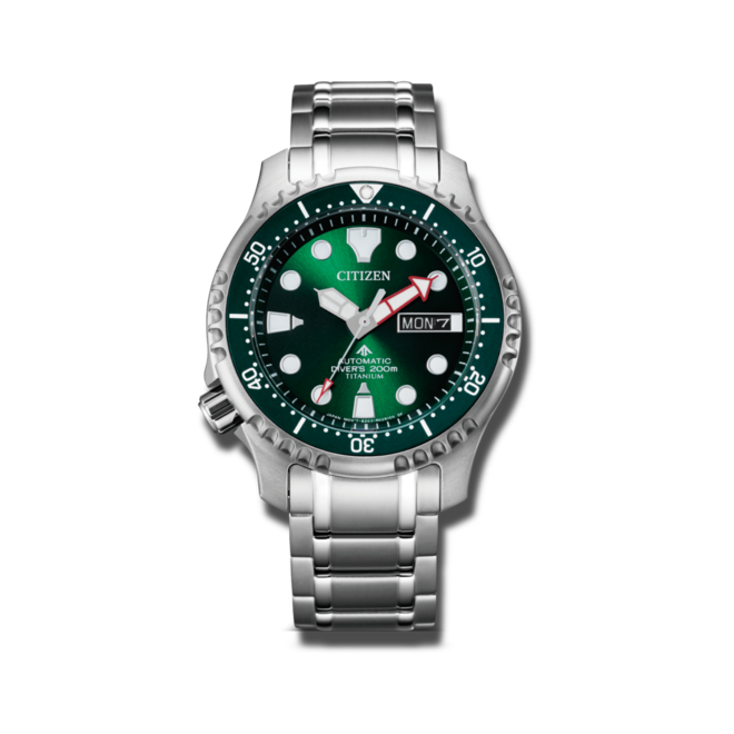 Herrenuhr Citizen Promaster Marine Diver mit grünem Zifferblatt und Titaniumarmband bei Brogle