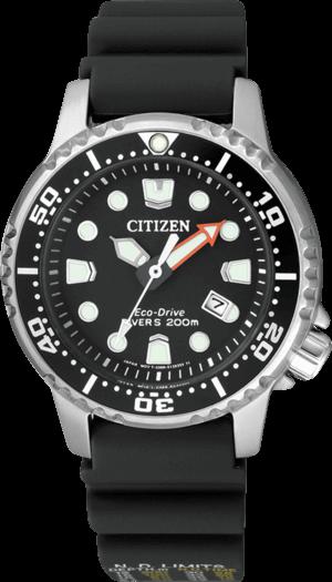 Damenuhr Citizen Promaster Marine mit schwarzem Zifferblatt und Kautschukarmband