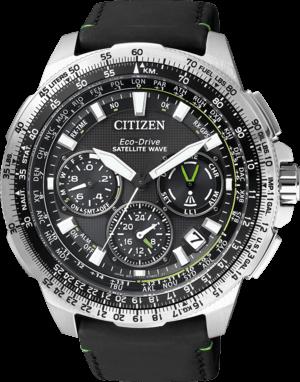 Herrenuhr Citizen Satellite Wave GPS mit schwarzem Zifferblatt und Kalbsleder-Armband