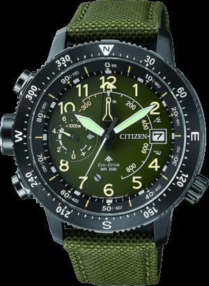 Herrenuhr Citizen Promaster Sky Altichron mit grünem Zifferblatt und Textilarmband