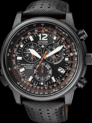 Herrenuhr Citizen Promaster Sky mit schwarzem Zifferblatt und Rindsleder-Armband