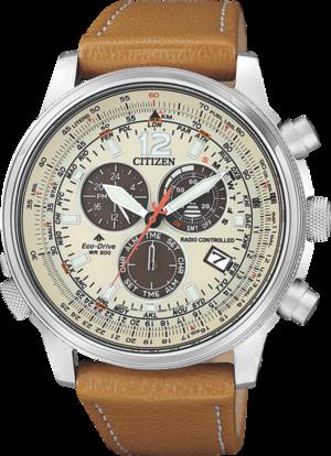Herrenuhr Citizen Promaster Sky mit beigefarbenem Zifferblatt und Kalbsleder-Armband