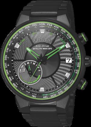 Herrenuhr Citizen Satellite Wave GPS mit schwarzem Zifferblatt und Edelstahlarmband