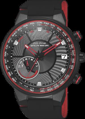 Herrenuhr Citizen Satellite Wave GPS mit schwarzem Zifferblatt und Silikonarmband