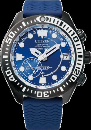 Herrenuhr Citizen Satellite Wave GPS Diver mit blauem Zifferblatt und Kautschukarmband