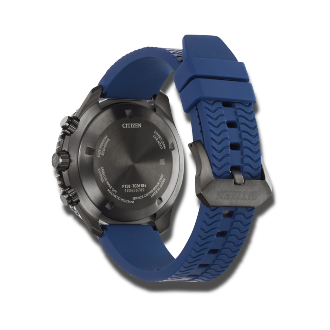 Herrenuhr Citizen Satellite Wave GPS Diver mit blauem Zifferblatt und Kautschukarmband bei Brogle
