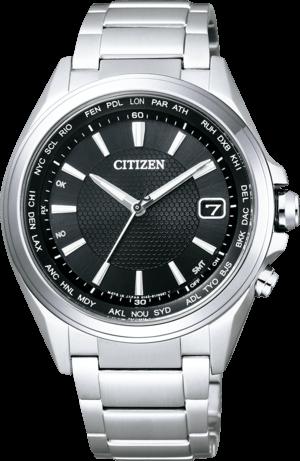Herrenuhr Citizen Attesa mit schwarzem Zifferblatt und Titanarmband