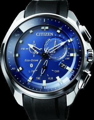 Herrenuhr Citizen Sport Bluetooth mit blauem Zifferblatt und Polyurethanarmband