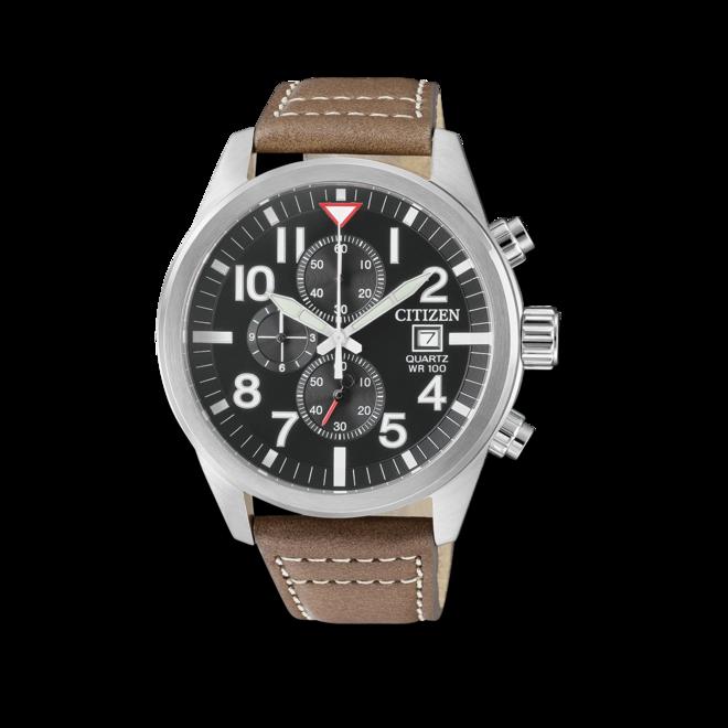 Herrenuhr Citizen Sport Chrono mit schwarzem Zifferblatt und Kalbsleder-Armband bei Brogle