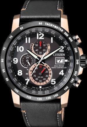 Herrenuhr Citizen Sport Chrono mit schwarzem Zifferblatt und Kalbsleder-Armband
