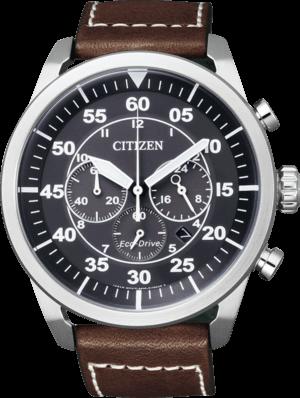 Herrenuhr Citizen Sport Chrono mit blauem Zifferblatt und Kalbsleder-Armband