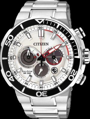 Herrenuhr Citizen Sport Chrono mit weißem Zifferblatt und Edelstahlarmband
