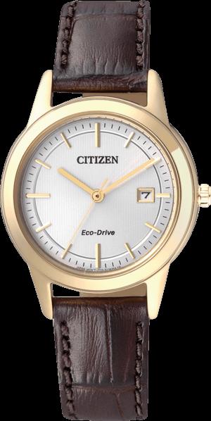 Damenuhr Citizen Sport Damen mit silberfarbenem Zifferblatt und Kalbsleder-Armband