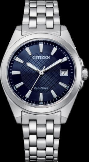 Damenuhr Citizen Eco-Drive mit blauem Zifferblatt und Edelstahlarmband