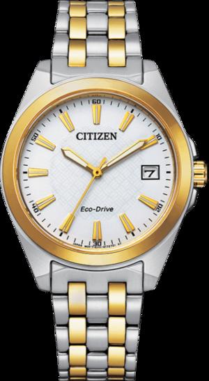 Damenuhr Citizen Eco-Drive mit weißem Zifferblatt und Edelstahlarmband
