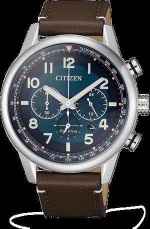 Herrenuhr Citizen Eco-Drive Herren Chronograph mit blauem Zifferblatt und Kalbsleder-Armband