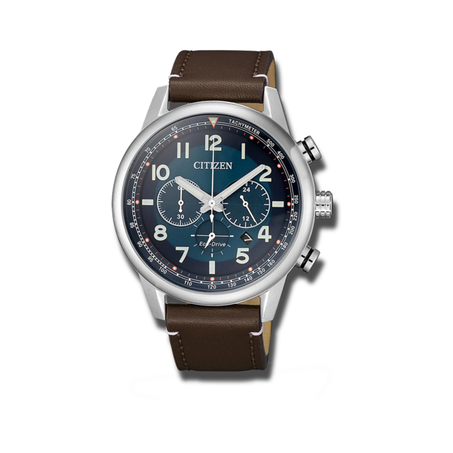 Herrenuhr Citizen Eco-Drive Herren Chronograph mit blauem Zifferblatt und Kalbsleder-Armband bei Brogle