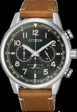 Herrenuhr Citizen Eco-Drive Herren Chronograph mit grünem Zifferblatt und Kalbsleder-Armband