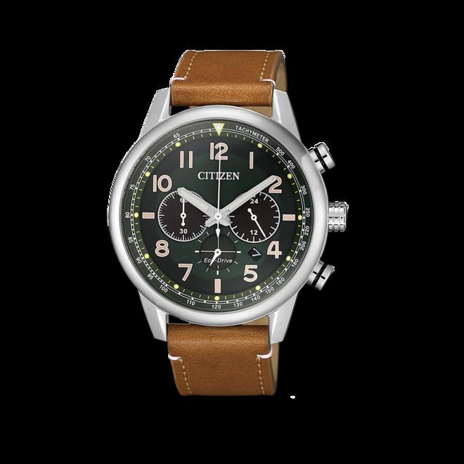 Herrenuhr Citizen Eco-Drive Herren Chronograph mit grünem Zifferblatt und Kalbsleder-Armband bei Brogle