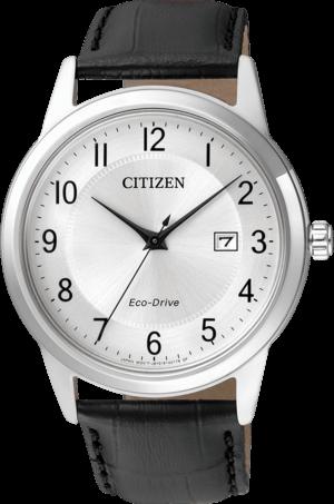 Herrenuhr Citizen Sport Herren mit silberfarbenem Zifferblatt und Armband aus Kalbsleder mit Krokodilprägung