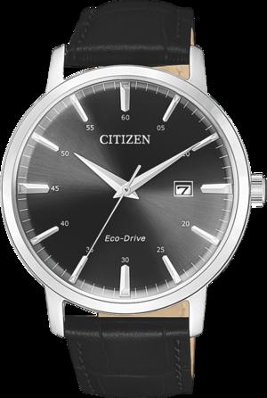 Herrenuhr Citizen Sport Herren mit schwarzem Zifferblatt und Armband aus Kalbsleder mit Krokodilprägung