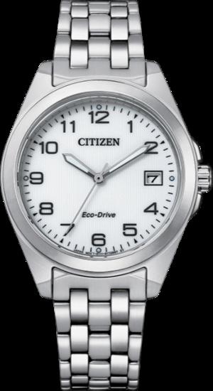 Damenuhr Citizen Sport Quarz 33,5mm mit weißem Zifferblatt und Edelstahlarmband