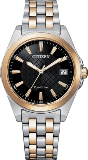 Damenuhr Citizen Sport Quarz 33,5mm mit schwarzem Zifferblatt und Edelstahlarmband