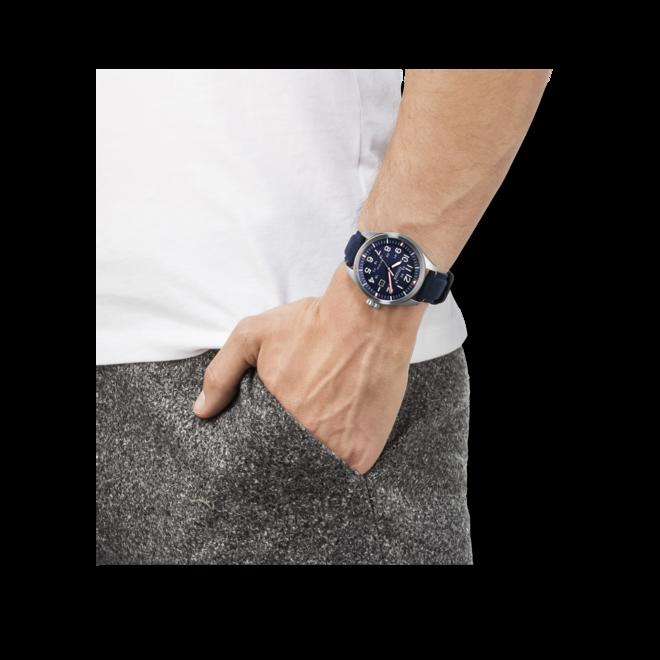 Herrenuhr Citizen Sport Quarz 42,6mm mit blauem Zifferblatt und Textilarmband bei Brogle