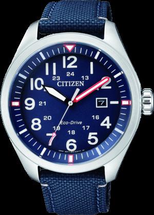 Herrenuhr Citizen Sport Quarz 42,6mm mit blauem Zifferblatt und Textilarmband