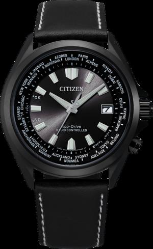 Herrenuhr Citizen Sport Quarz 42mm mit schwarzem Zifferblatt und Kalbsleder-Armband
