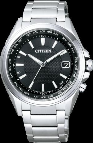 Herrenuhr Citizen Sport Quarz 42mm mit schwarzem Zifferblatt und Titanarmband